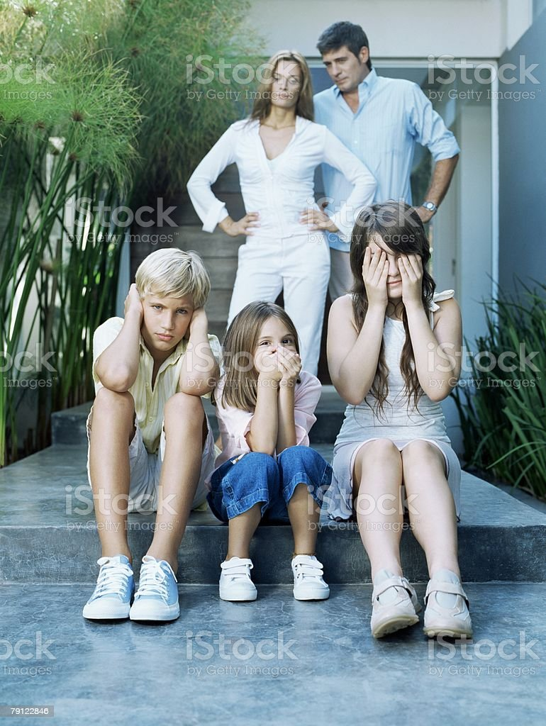 Parents annoyed at children stock photo
