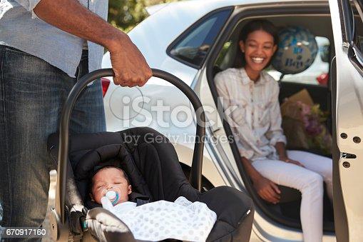 istock Parents Bringing Newborn Baby Home In Car 670917160