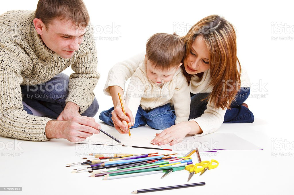 Parents drawing with son royalty free stockfoto