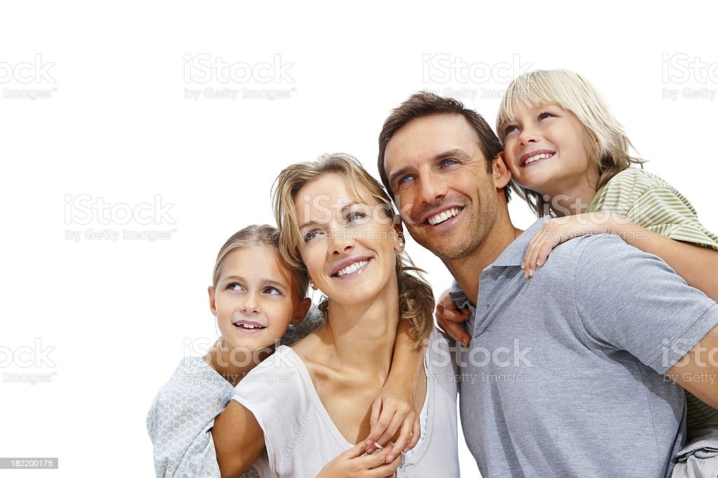 Parents giving piggybacking to their children royalty-free stock photo