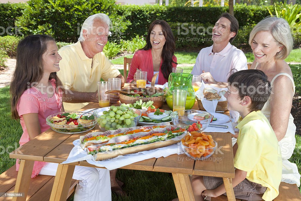 Parents Grandparents Children Family Healthy Eating Outside royalty-free stock photo