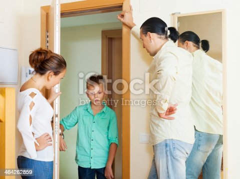 istock Parents meeting with berate of teenage son 464262859