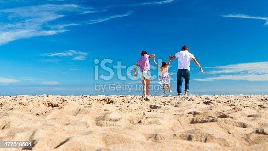 istock Parents Swing Child on Beach 477546504