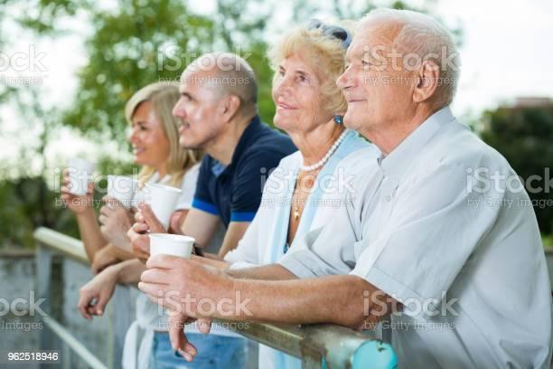Foto de Pais Com Filhos Mais Velhos Bebem Chá No Jardim e mais fotos de stock de Adulto