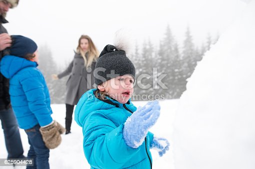 istock Parents with their sons, playing in the snow, building snowman. 625904428
