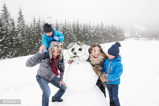 istock Parents with their sons, playing in the snow, building snowman. 625904514