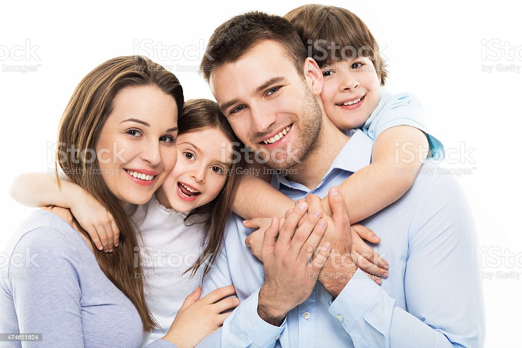 Parents with two children stock photo