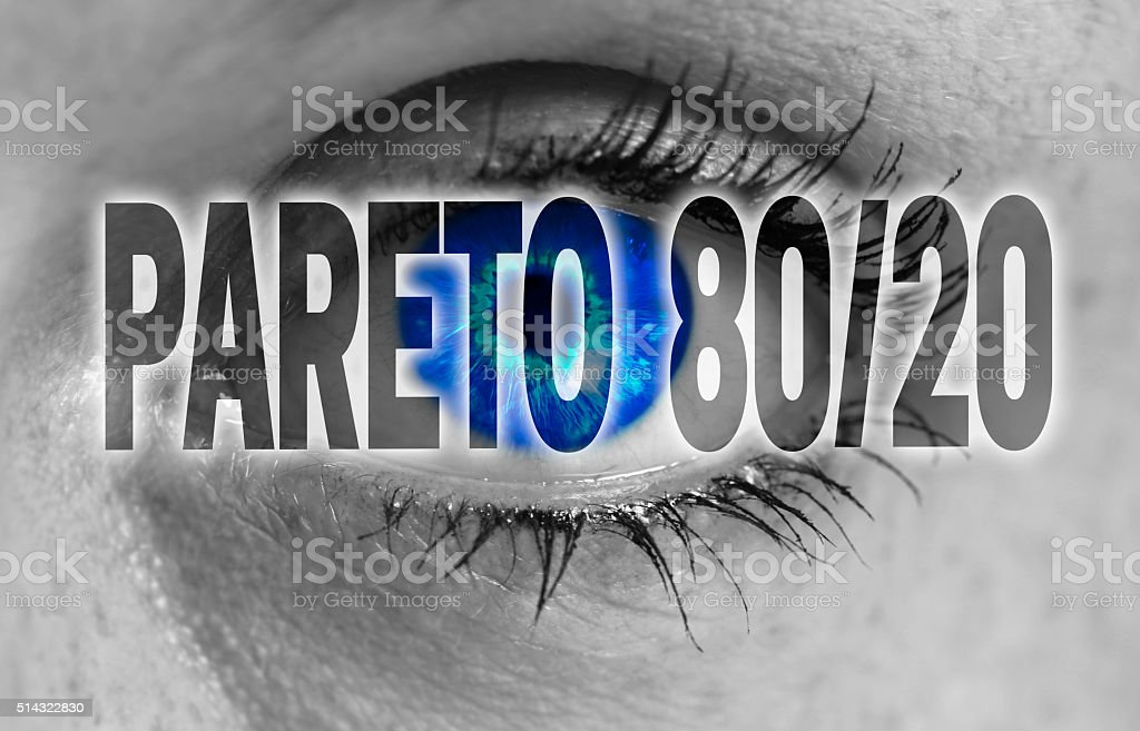 Pareto 80/20 eye looks at viewer concept background stock photo