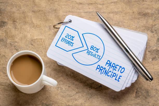 Pareto 80-20 principle concept on napkin stock photo