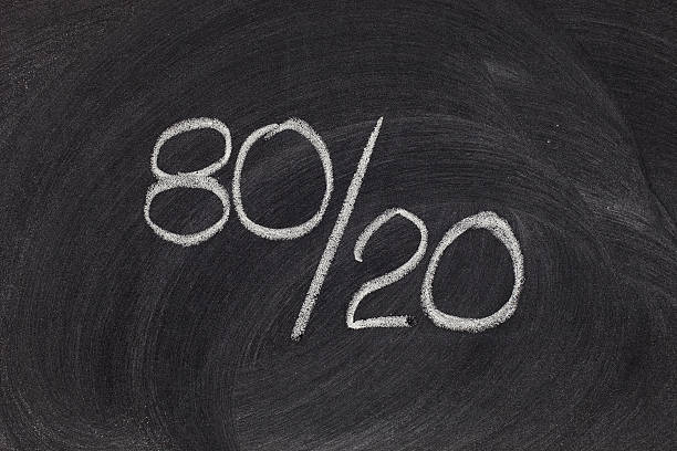 pareto principle, eighty-twenty rule - number 20 stock photos and pictures