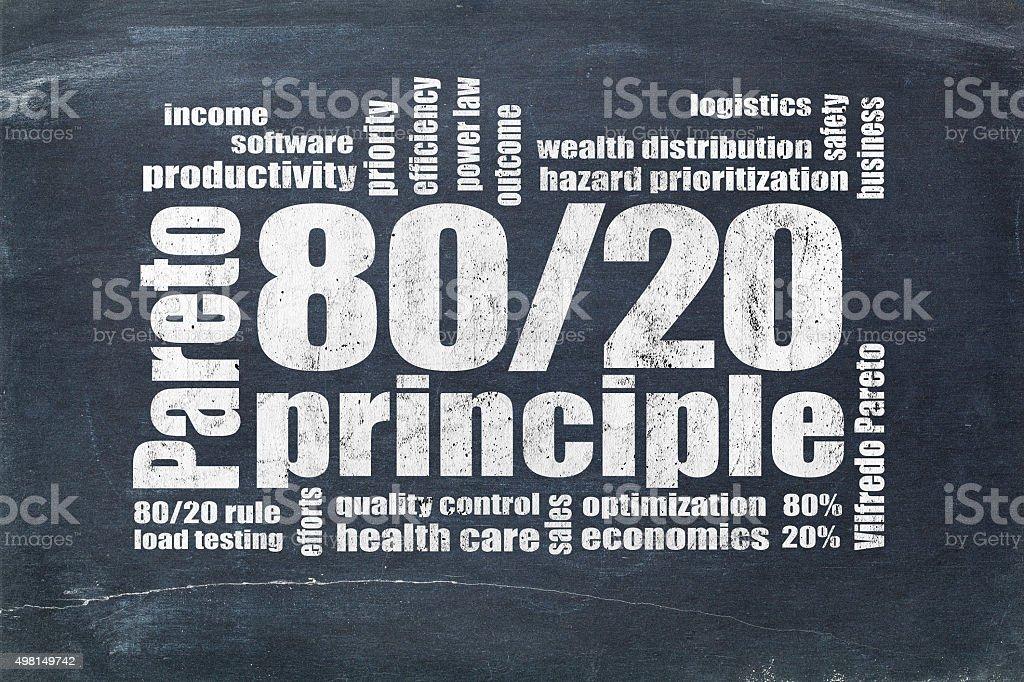 Pareto principle, eighty-twenty rule stock photo