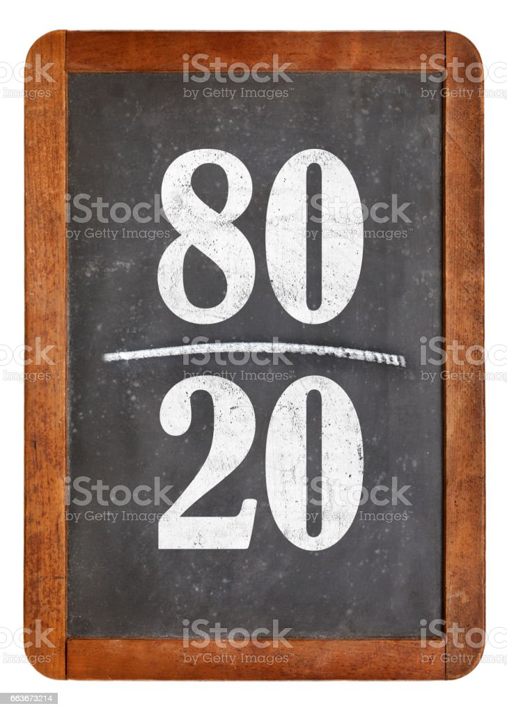 Pareto principle, eighty-twenty rule stock photo