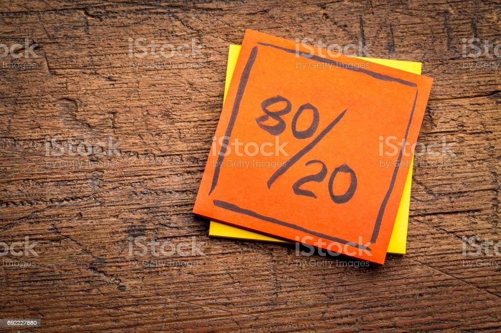 Pareto principle on sticky note stock photo