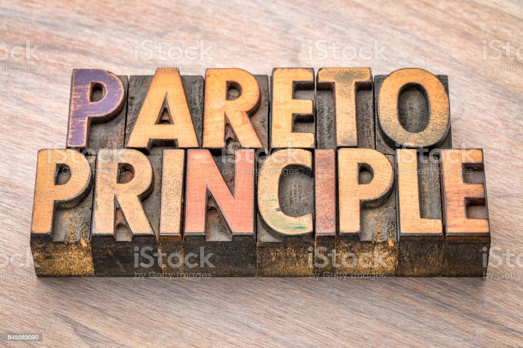 Pareto principle word abstract in wood type stock photo