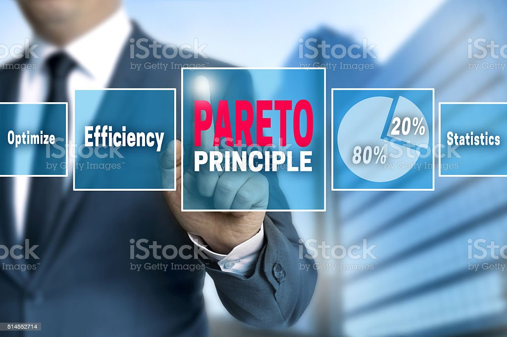 Pareto touchscreen is operated by businessman stock photo
