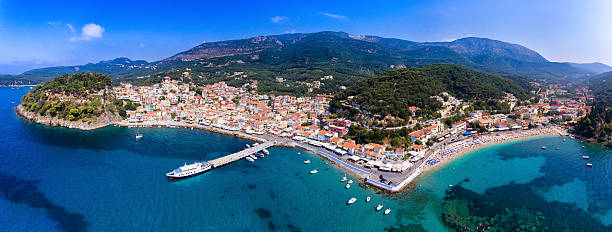 Parga aerial panorama from drone. Old village and harbour panora stock photo