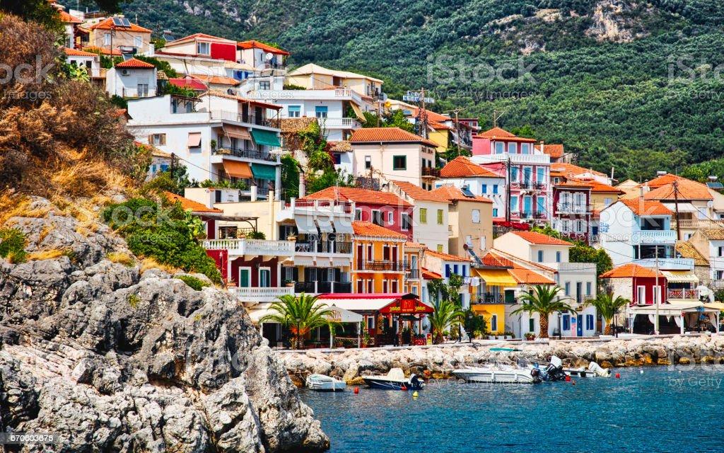 Parga, Greece hillside town stock photo