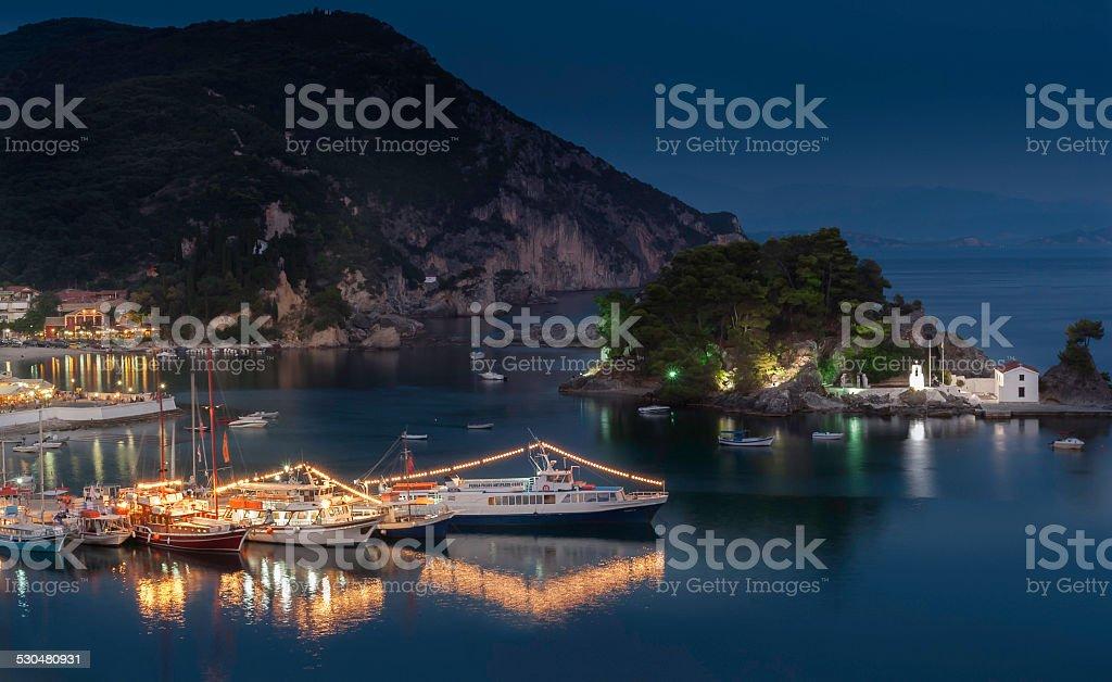 Parga Harbour at Night stock photo