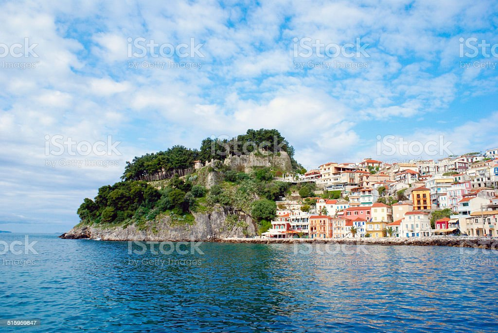 Parga town and port  in Greece. Ionian sea stock photo