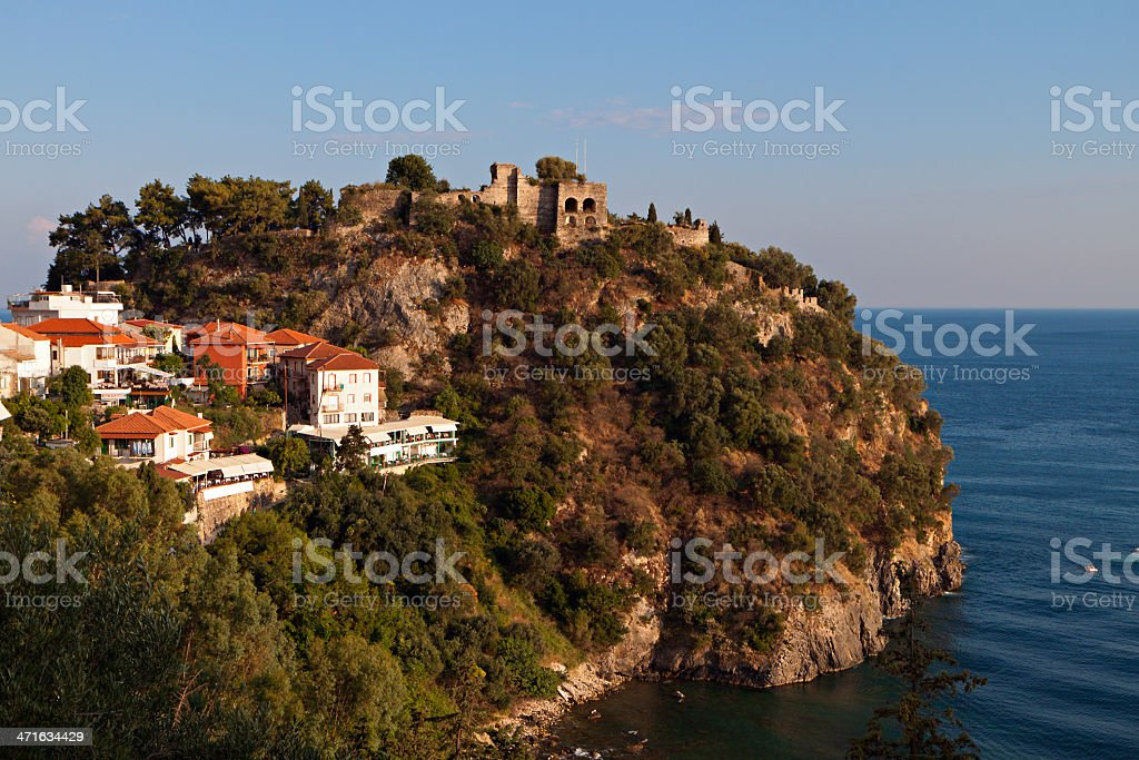 Parga town and the castle in Greece stock photo