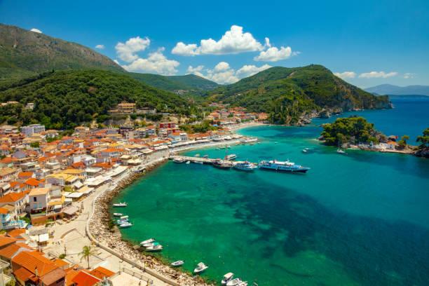 Parga town panoramic view. Popular tourist destination of Greece. stock photo