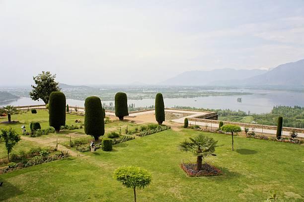 Pari Mahal Mughal garden with Dal lake, Srinagar, Kashmir stock photo