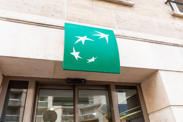BNP Paribas bank sign at the entrance to the department stock photo