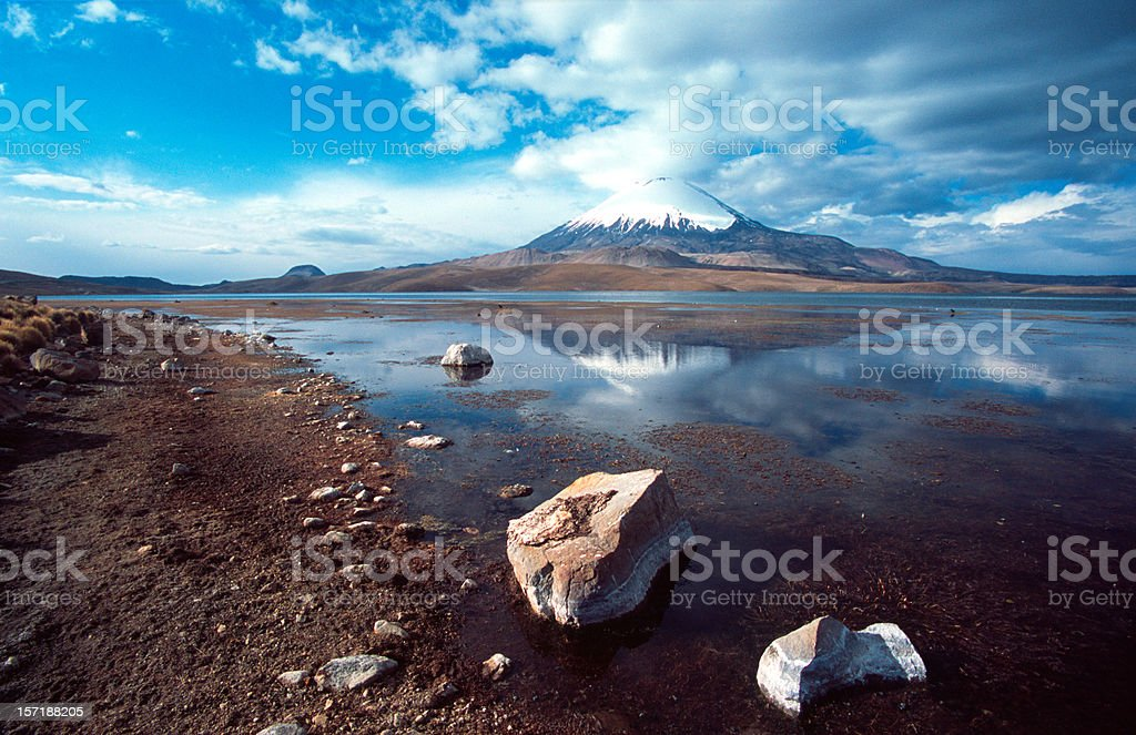 Parinacota volcano, mirrored in lake royalty-free stock photo