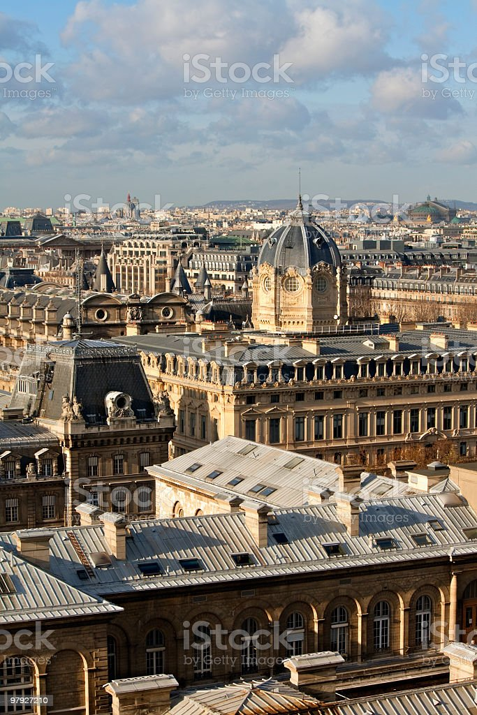 Paris aeiral view from Notre Dame  ( France ) royalty-free stock photo