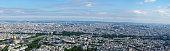 Paris aerial cityscape from Hotel des Invalides to Palais Royal with Arc de Triomphe, Pont Alexandre III, Grand palais, Place de la Concorde and Sacre-Coeur basilica at Montmartre.