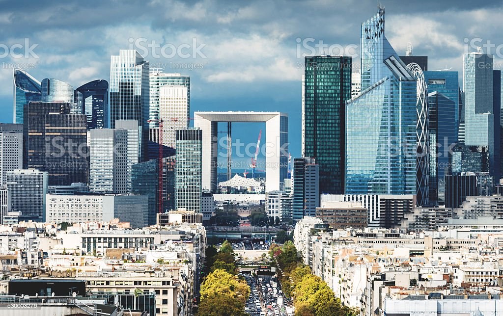 Paris aerial view of La Defense stock photo