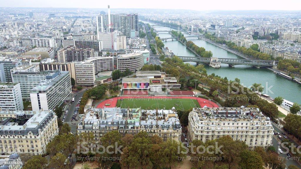 Paris aerial view of Seine and bridge - Photo