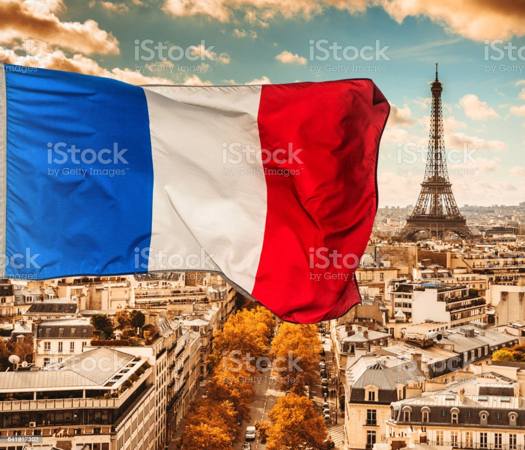 paris aerial view skyline with france flag stock photo