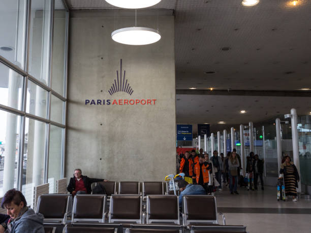 Paris Aeroport logo on Roissy Charles de Gaulle Airport, Terminal 2D. It is the commercian name of ADP Aeroports de Paris, the airport company being privatized stock photo