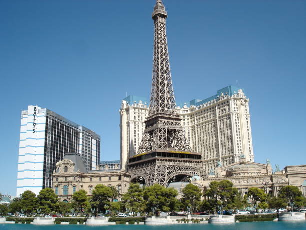 Paris and Bally's Hotel in Las Vegas stock photo