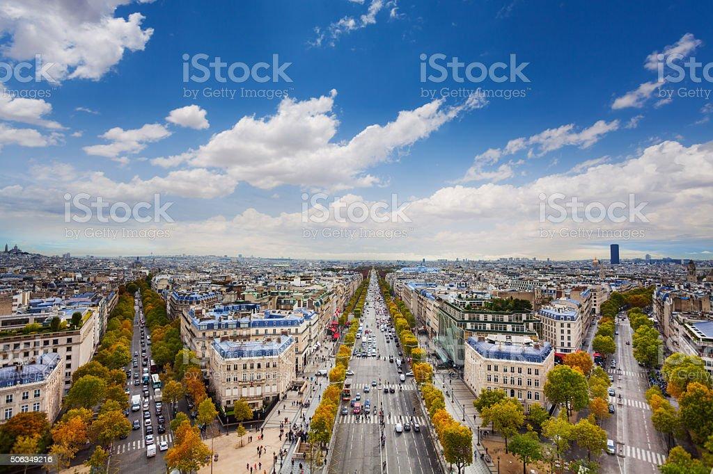 Paris and Champs Elysees form Arc de Triumph stock photo