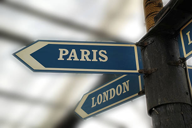 Paris and London Direction Signboard stock photo