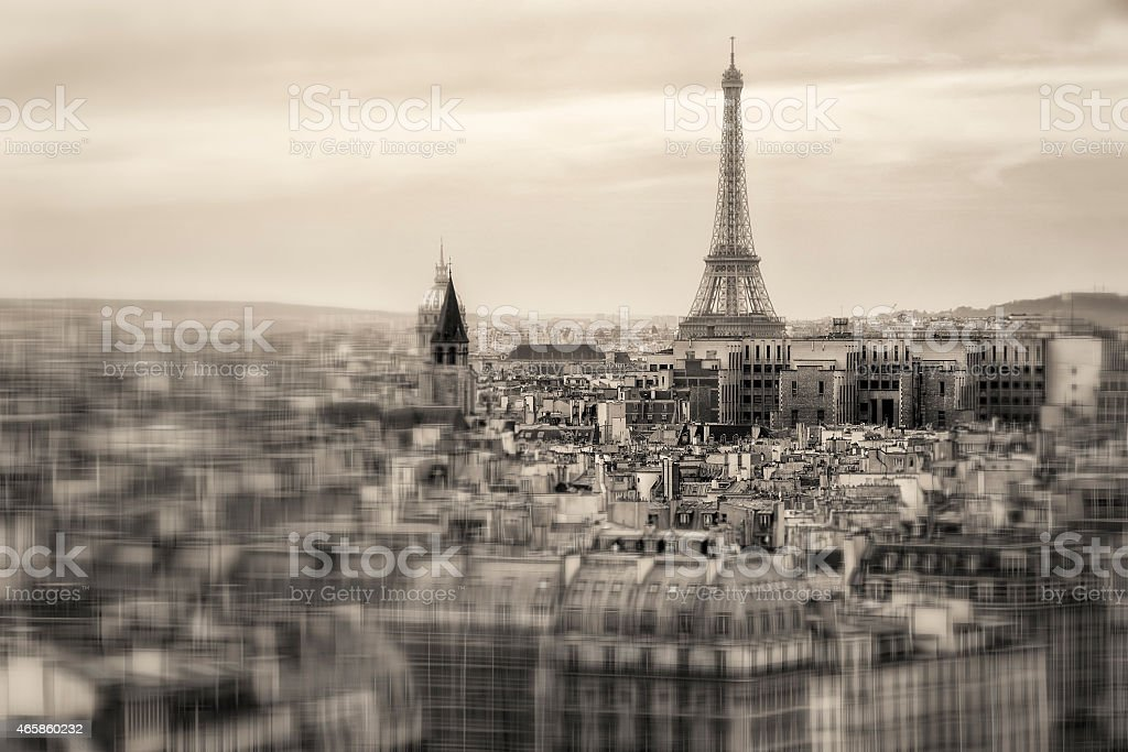Paris and the Eiffel Tower from above stock photo