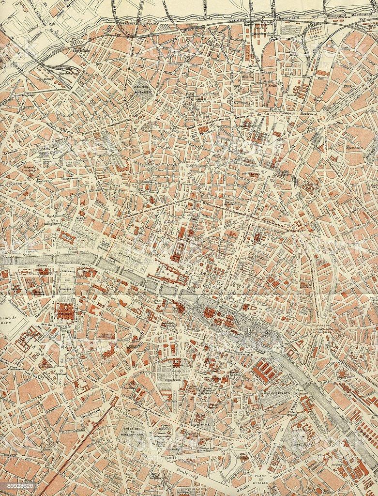 Paris Antique Map 1899. stock photo