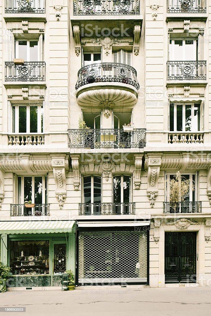 Paris apartment building facade royalty-free stock photo