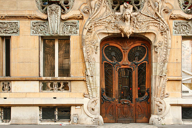 paris architecture - art nouveau stock photos and pictures