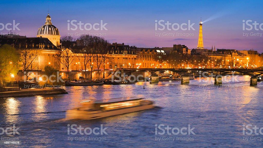 Paris at Night-Tour Eiffel-Time Lapse stock photo