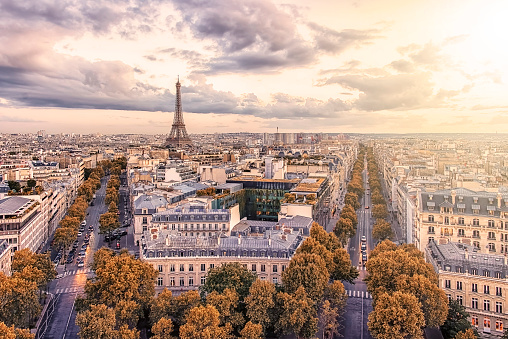Paris city with Eiffel Tower viewed from the Arc De Triomphe