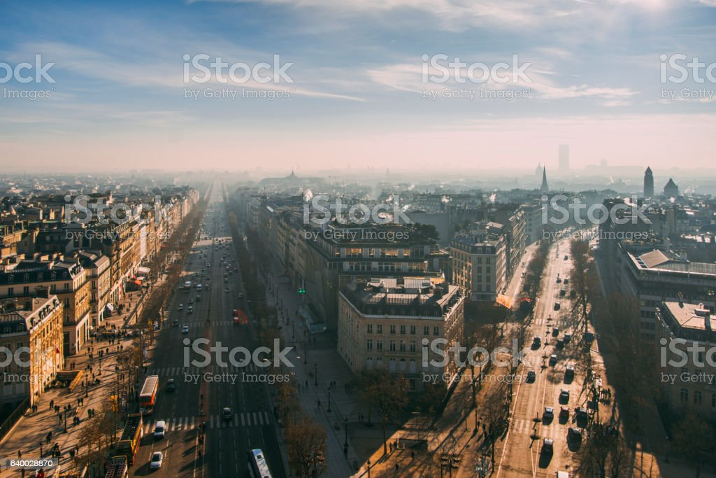 Paris avenues from above stock photo