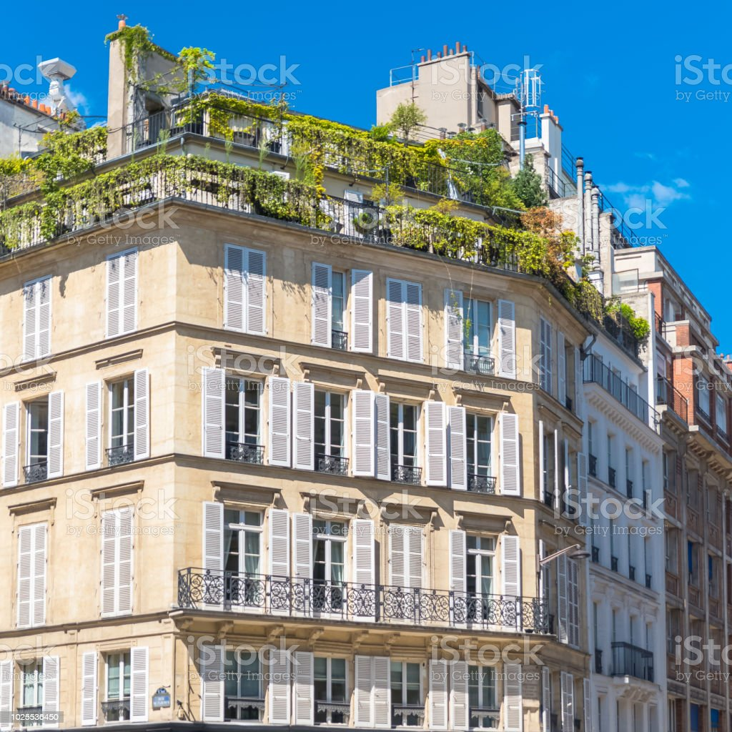 Paris, beautiful apartments stock photo