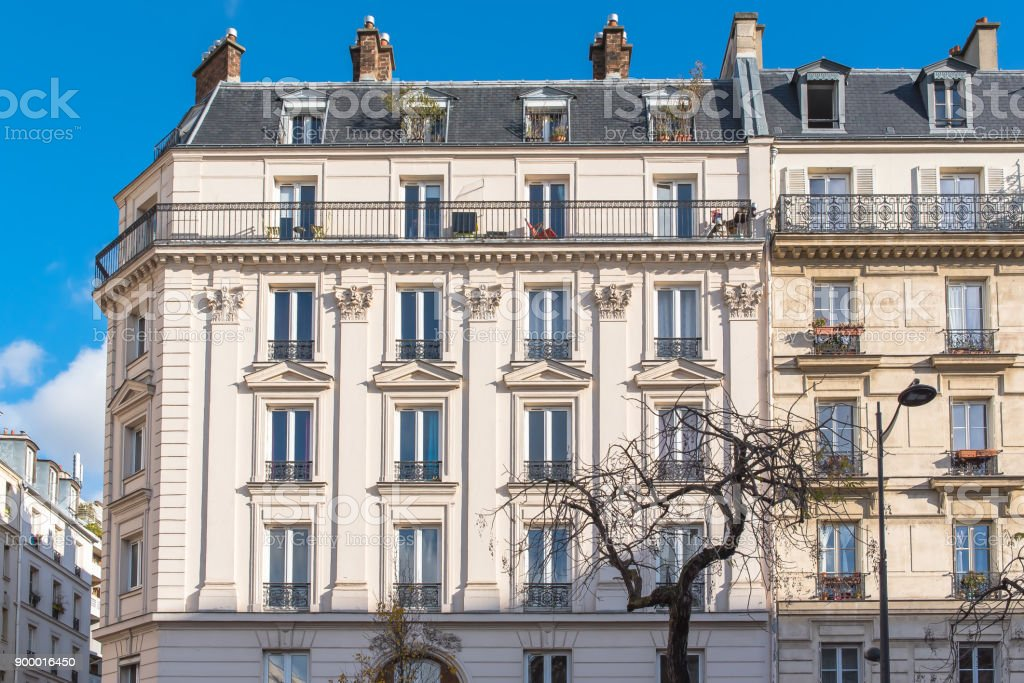 Paris, beautiful building facade stock photo