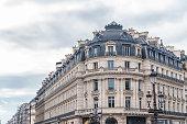 Paris, beautiful building in the center, typical parisian facade, place de l'Opera