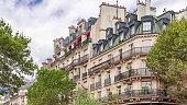Paris, beautiful building, typical parisian facade boulevard Saint-Michel