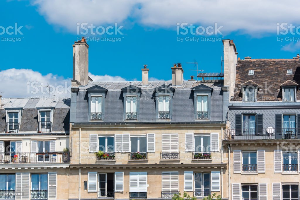 Paris, beautiful facades in the Marais stock photo