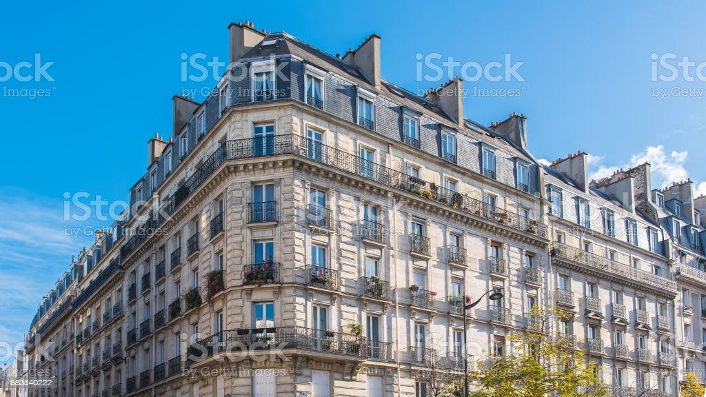 Paris, beautiful Haussmann facade stock photo